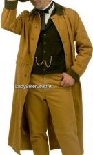 Buy Mens ALL WEATHER Off White OR Brown CANVAS DUCKIN Trench Coat MOTORCYCLE DUSTER