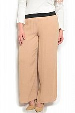 Buy Womens Pants Sheer Wide Legs PLUS SIZE 1XL 3XL Crinkle Solid Mocha Inseam 30