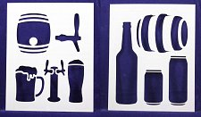 Buy Beer Stencils- 2 Pc Set- 14 mil Mylar Painting/Crafts/Stencil