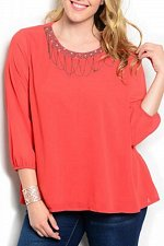 Buy PLUS SIZE 1XL 2XL 3XL Womens Top C.O.C. Solid Rust Embellished Beaded Neck ¾ Sle