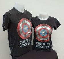 Buy Captain America black Cotton 100% T-Shirt The Avengers Super Hero Marvel *114