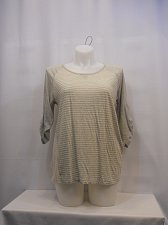 Buy Womens Knit Top TOMMY HILFIGER SIZE XL Gray Striped Scoop Neck 3/4 Tab Sleeves