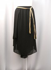 Buy Women Skirt Plus Size 24W Solid Black Belted Mid Calf Peasant Asymmetrical Lined