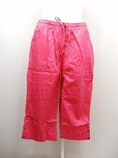 Buy PLUS SIZE 22W Women Cotton Capris Solid Pink Pockets Elastic Drawstring Waist