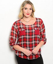 Buy Size 1XL 2XL 3XL Womens Tunic Top E M TOO Sheer Red Plaid Lace Yoke Scoop Neck ¾