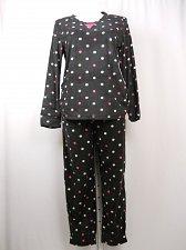 Buy SIZE XL Women 2PC Microfleece PJ Set SECRET TREASURES Black Dots Long Sleeve Cre