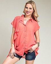 Buy PLUS SIZE 1X 2X Womens Chiffon Sheer Top ROMAN Side Drape Coral Shirt Hi-Lo Hem