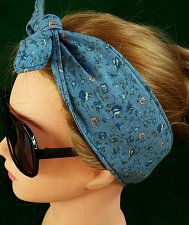 Buy Headband hair wrap blue calico print 100% Cotton hand made