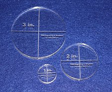 """Buy Laser Cut Quilt Templates- 3 Piece Circles -1"""", 2"""", 3"""" Clear Acrylic 3/8"""""""