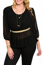 Buy PLUS SIZE 1XL 2XL 3XL Sheer Womens Peplum Top C.O.C. Black Chiffon Embellished W