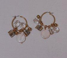 Buy Women Fashion Earrings Hoop Gold Tones Beads Polished Rocks FASHION JEWELRY Leve