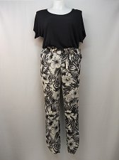 Buy Womens Jumpsuit Size M FEVER Black Floral Scoop Neck Tapered Leg Dolman Sleeves