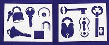 Buy Locks-Keys Stencils- 2 Pc Set- 8 x 10 -14 mil Mylar Painting/Crafts