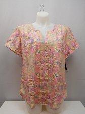 Buy PLUS SIZE 1X Women Tunic Top MILLENIUM Pink Geometric Short Sleeves Pullover