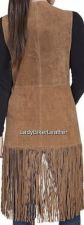 Buy Ladies Hippie LAZER CUT Brown Blue Walnut OR Tan SUEDE Leather LONG FRINGE Vest