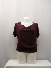 Buy Women Sweater Plus Size 1X 2X NY COLLECTION Wine Embellished Cowl Neck Thin Knit