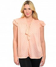 Buy Womens Tunic Top Peach Polka Dot Cap Sleeves PLUS SIZE 14-24 V-Neck Career