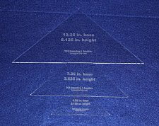 "Buy 3 Piece Triangle NO seam - Clear Acrylic 1/8"" Laser Cut Quilt Templates-"