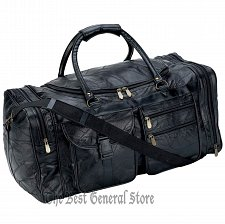 "Buy Black Leather 25"" Tote Duffle Bag Gym Sport Travel Overnight Luggage Satchel"