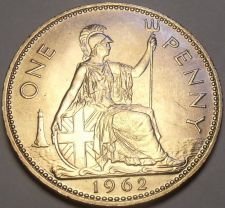 Buy Gem Unc Great Britain 1962 Penny~Britannia Seated Right~Free Shipping