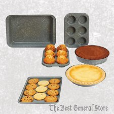 Buy 6pc Speckled FDA Certified Non-Stick Coating Carbon Steel Bakeware Set Cookie