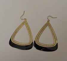 Buy Women Fashion Drop Dangle Earrings Black Gold Triangles MICHELLE Hook