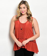 Buy Women Top SIZE XL 3XL Solid Rust ZENOBIA Lace Sheer Asymmetrical Sleeveless
