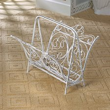 Buy *15539U - White Distressed Finish Cast Iron Magazine Rack