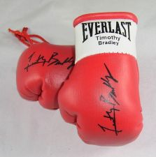 Buy Manny Pacquiao v Timothy Bradley Autographed Mini Boxing gloves (collectable)