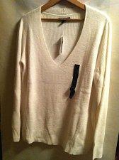 Buy Women`s Banana Republic White Ribbed Sweater Size L NWT`s