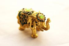 Buy Green Elephant enamelled and Diamante encrusted hinged trinket box / pill Box