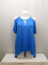 Buy PLUS SIZE 0X Womens Knit Top INC Blue Embellished Scoop Neck Cold Shoulders Shor