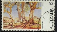 "Buy Australia's 1977 Paintings series $2, is ""Red Gums of the Far North"" by Hans"