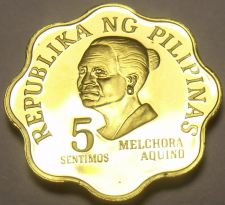 Buy Philippines 1975 5 Sentimos Proof~37,000 Minted~Scalloped~Melchora Aquino~Fr/Shi