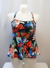 Buy SIZE 16 Women Shirred Tankini Swim Top SHORE CLUB Multi Color Floral Wire Free