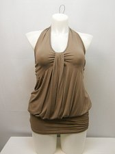 Buy PLUS SIZE 3XL Women Halter Top Solid Taupe Shirred Sides Empire Waist Elastic Ba