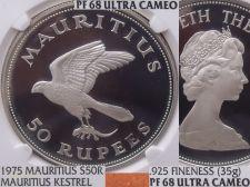 Buy Mauritius 1975 Silver 50 Rupees~NGC PR-68 UC~Pop=2~Conservation~Kestrel~Free Shi