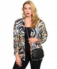 Buy Size M XL Womens Wrap Swing Cardigan Breckenridge Brown Animal Print Long Sleeve