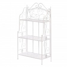 Buy *17509U - White Iron Basket Weave Bakers Rack Shelves