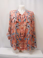 Buy PLUS SIZE 18W Womens Top JONES NEW YORK Poppy Red Paisley Button Long Sleeve