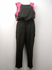 Buy Women Jumpsuit PLUS SIZE 22W MODAMIX Black Pink Scoop Neck Sleeveless Taper Leg