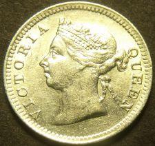 Buy Hong Kong 1901 5 Cents Silver Unc~Free Shipping
