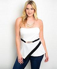 Buy SIZE 2XL Womens Peplum Halter Top BANABEE White Strapless Mock Metal Plate Belt