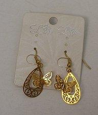 Buy Women Fashion Drop Dangle Earrings Gold Butterflies On Teardrops LIN LI Hook