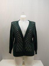 Buy SIZE L Women Button Down Sweater NORTHCREST Dark Green 3/4 Sleeves Y-Neck Cotton