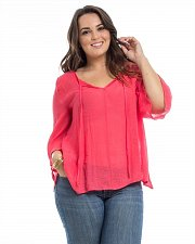 Buy Women Top Sheer Gauze PLUS SIZE 3X Deep Coral Crotched Back ¾ Bell Sleeves ARAZA