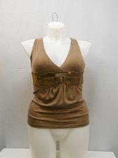 Buy Women Halter Top Size L Solid Brown Attached Belt Ruched Sides Empire Waist