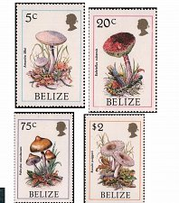 Buy Belize mnh stamp 1986 set of 4 Mushrooms Mi 930-933
