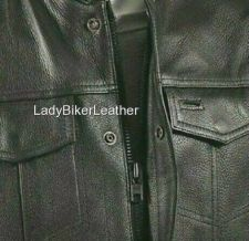 Buy Mens Biker SNAP/ZIP Black NAKED Leather CONCEALED CARRY Motorcycle CLUB Vest SOA