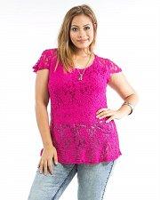 Buy PLUS SIZE 1X 2X Women Peplum Lace Top ROMAN Solid Fuchsia Scoop Neck Cap Sleeve